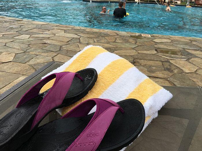 ABEO Balboa Sandals near pool