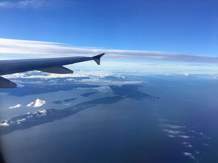 Window seat view of Vancouver