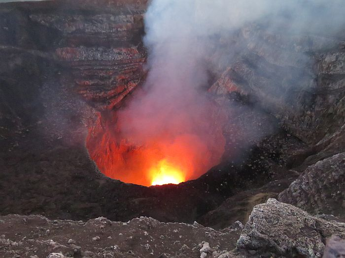 glowing lava at Masaya Volcano National Park