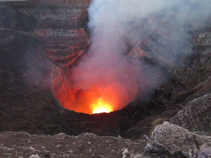 glowing lava at Masaya Volcano National Park