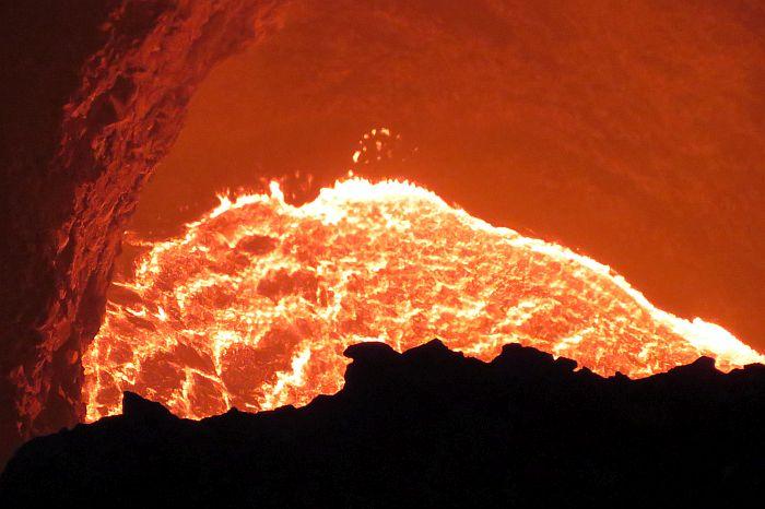 hot lava at Masaya Volcano National Park