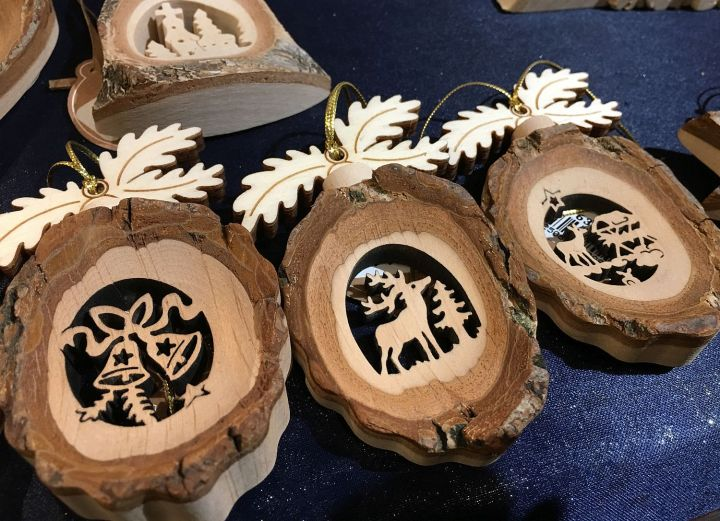 Cut wood decorations at Gengenbach Christmas Market