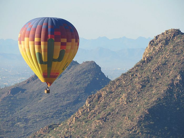 Hot air balloon ride over Arizona