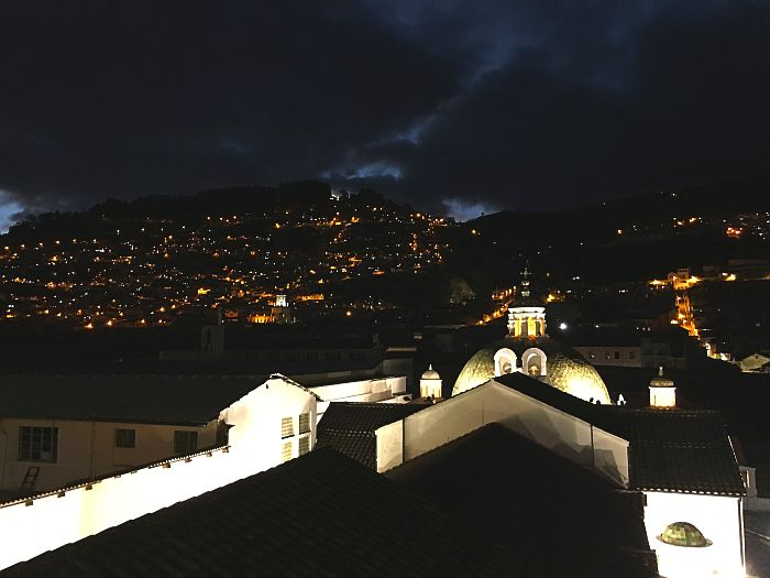 Night view from Church and Convent of San Francisco, Quito, Ecuador