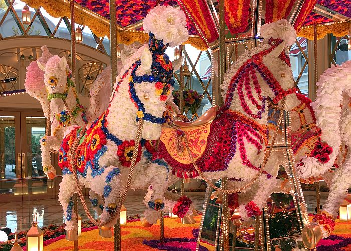 Wynn, Macao, carousel made of flowers