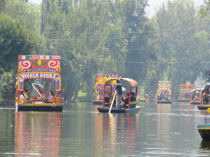 trajineras in Xochimilco, Mexico City