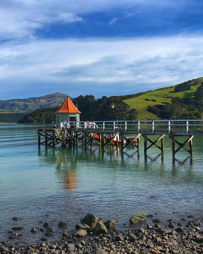 waterfront in Akaroa, New Zealand