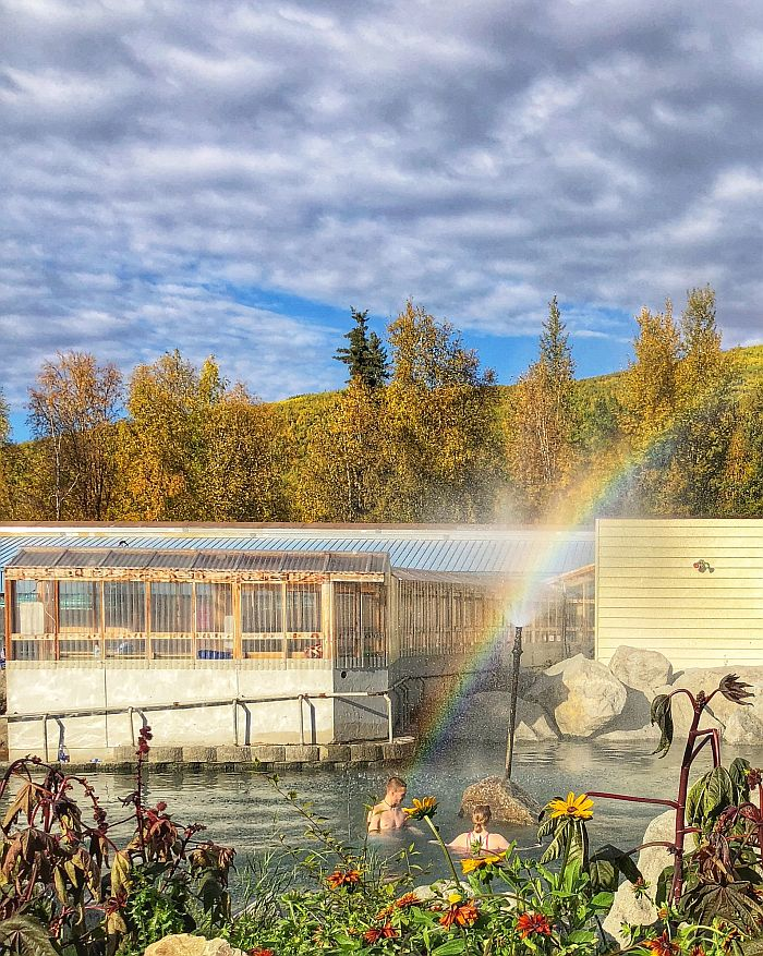 Soaking in the geothermal natural hot springs at Chena Hot Springs Resort
