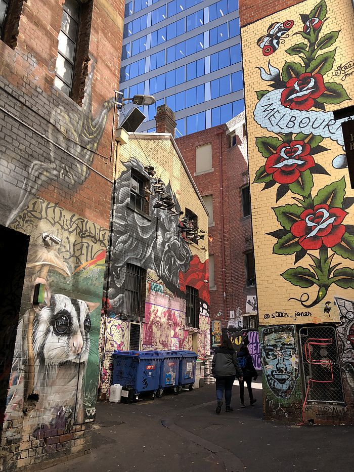 Alley covered with Street art in Melbourne, Australia