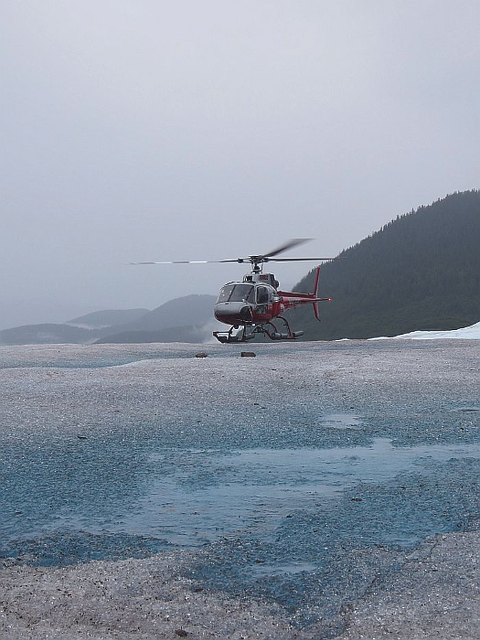 helicopter landing on Mendenhall Glacier