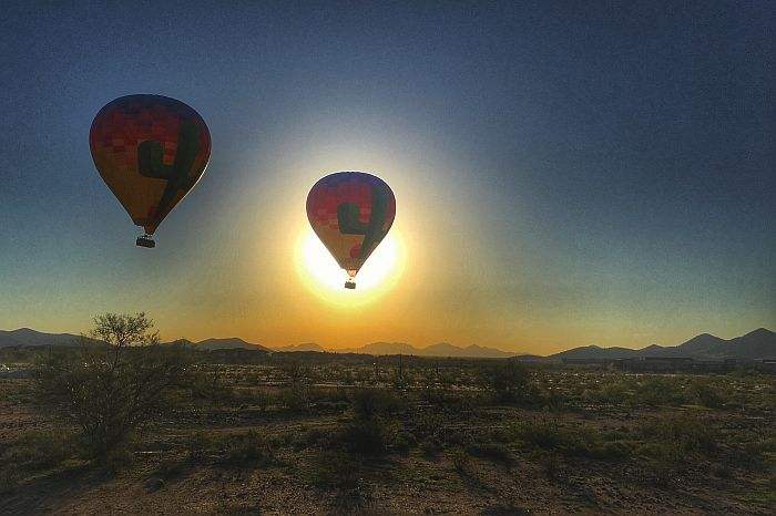 Hot Air Balloons at sunrise over Scottsdale, AZ