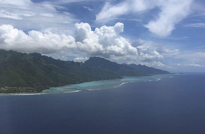 window seat view of the islands of Tahiti