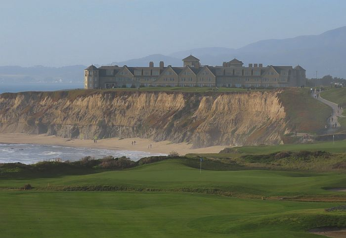 beach, bluff and The Ritz-Carlton Half Moon Bay